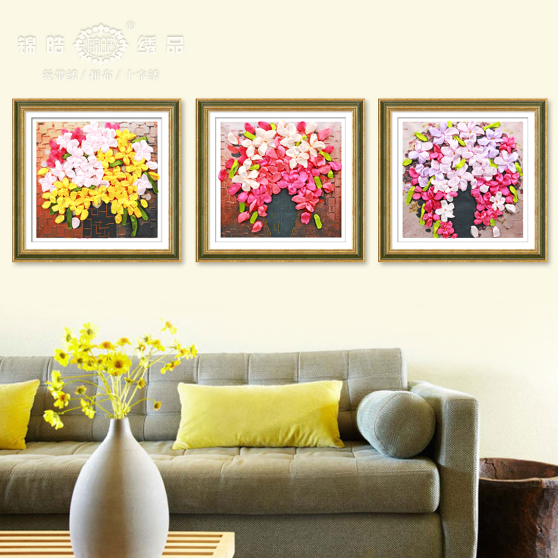 Jin hao new stitch ribbon embroidery paintings living room dining room color three-dimensional flowers substantial diamond special offer free shipping
