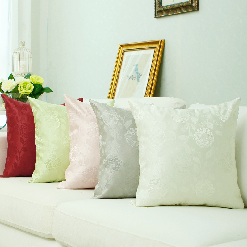 Jin hua color in rose ice silk jacquard satin euclidian office sofa bed pillow cushion pillow cover