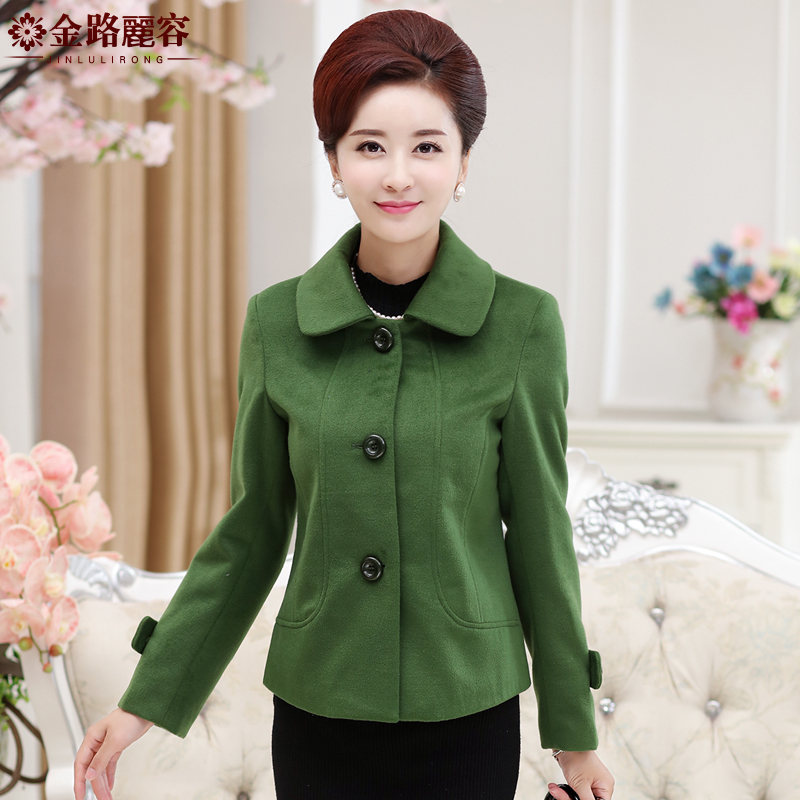 Jin lu lai yung middle-aged woman middle-aged ladies woolen coat fur collar mother dress fall and winter clothes thick coat