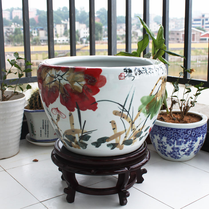 Jin to buy one get five jingdezhen ceramics kiln large goldfish bowl large aquarium tank painted flower pots