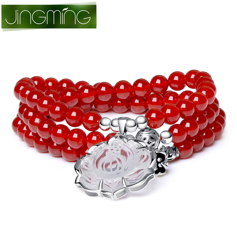 Jing ming crystal red agate bracelet with white crystal blossoming lotus silver bracelets female