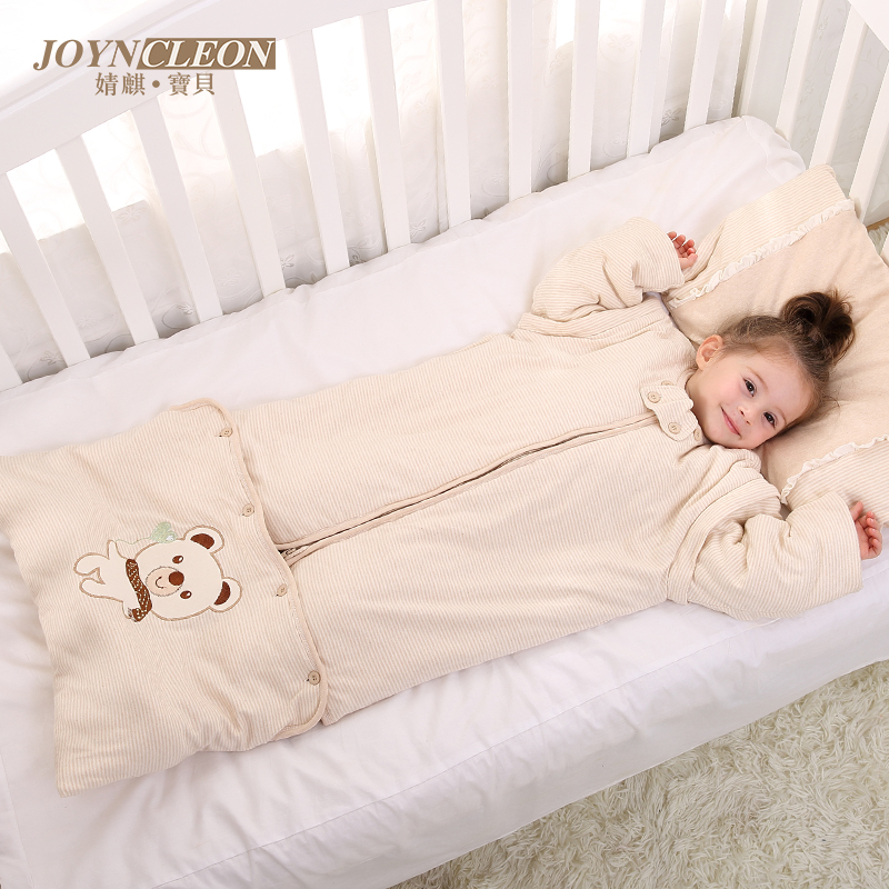 Jing qi baby infant baby cotton sleeping bag spring dongkuan thick cotton sleeping bag child anti tipi kids