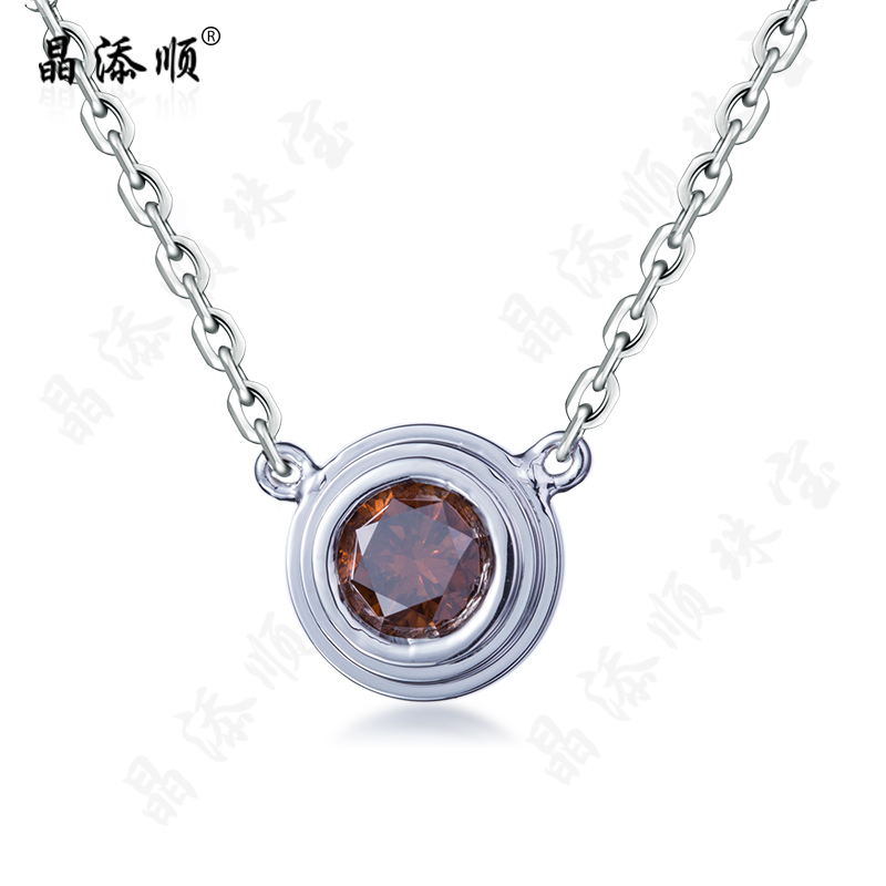Jing tian shun k gold tourmaline pendant inlaid colored gemstone necklace fashion women's singles stone jewelry customization