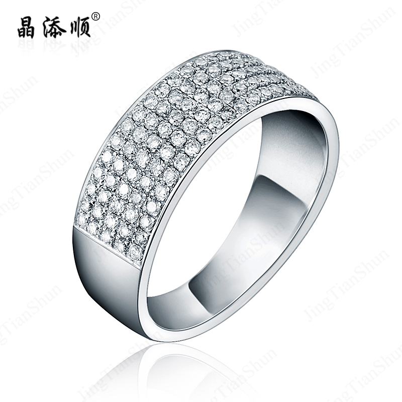 Jing tian shun k natural south african diamond nvjie custom jewelry counter genuine luxury group inlaid diamond ring row