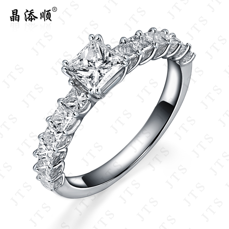Jing tian shun marry diamond ring wedding ring wedding ring female k gold square diamond drill shek pai ring genuine jewelry