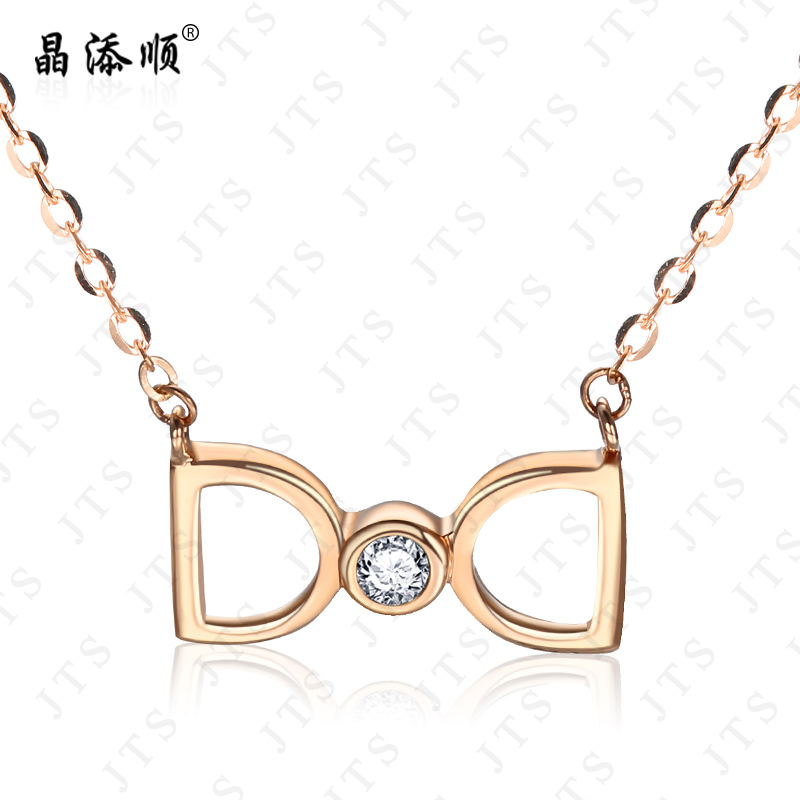 Jing tian shun white k gold pendant letter female rose gold short paragraph clavicle chain gold zircon pendant inlaid group