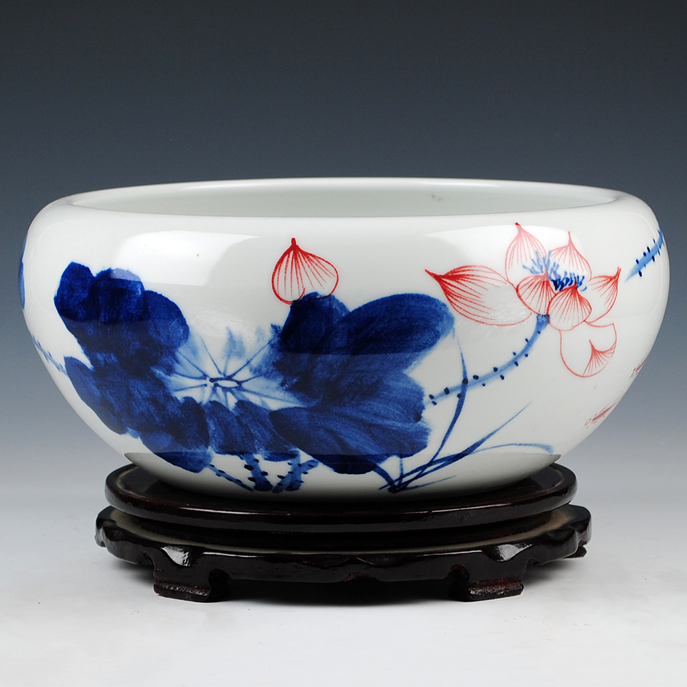 Jingdezhen blue and white ceramics painted freehand kyaiktiyo sleep lotus shallow water fish tank aquarium turtle tank narcissus flowers pots decoration