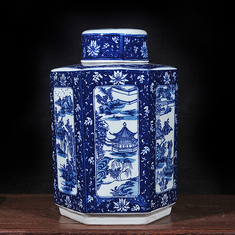 Jingdezhen ceramic antique blue and white landscape pattern canisters canister home decoration crafts ornaments