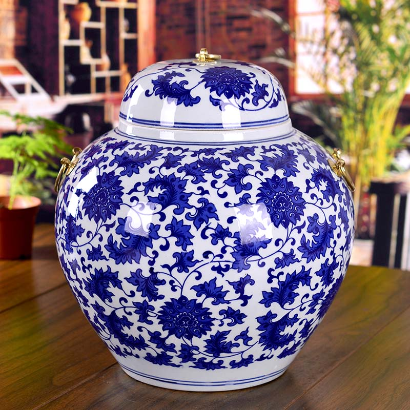 Jingdezhen ceramic antique blue and white porcelain large storage tank lid sealed cans home furnishing accessories living room