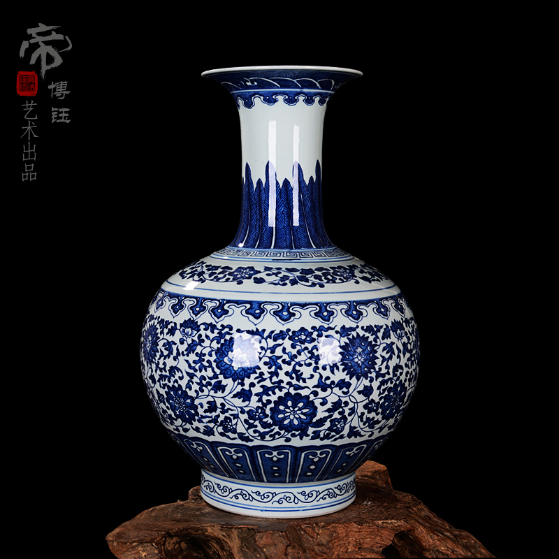 Jingdezhen ceramic antique blue and white porcelain yongzheng money reward bottle vase ornaments home study of antique collectibles