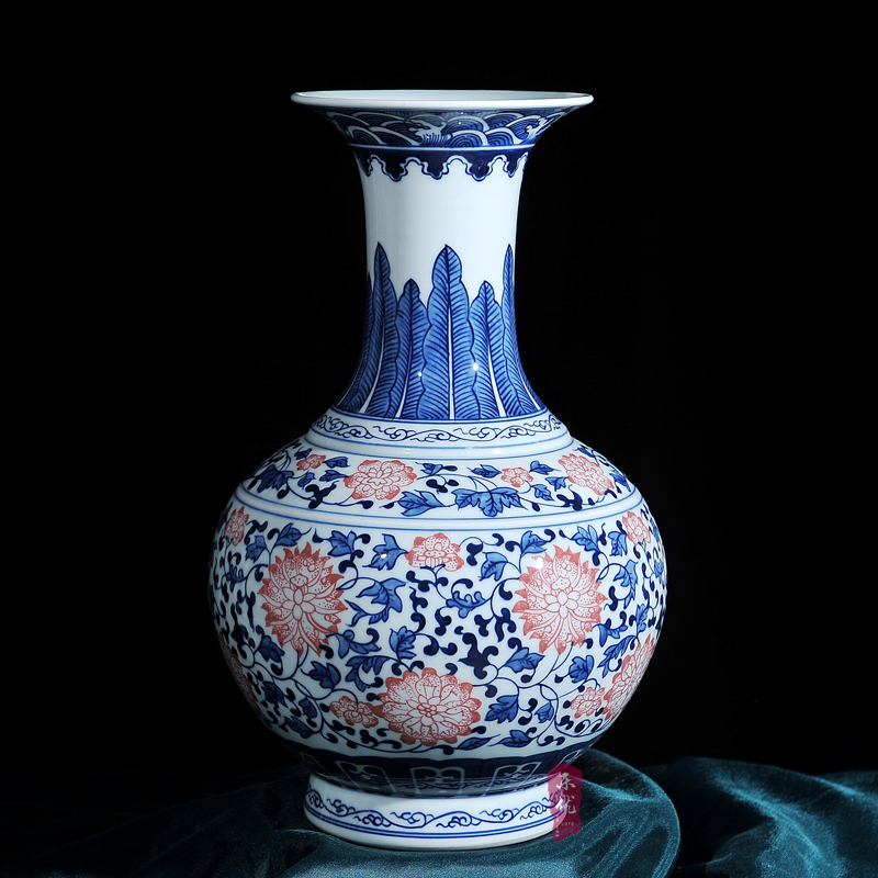 Jingdezhen ceramic antique painted blue underglaze red lotus wrapped reward bottle vase home furnishings living room ornaments
