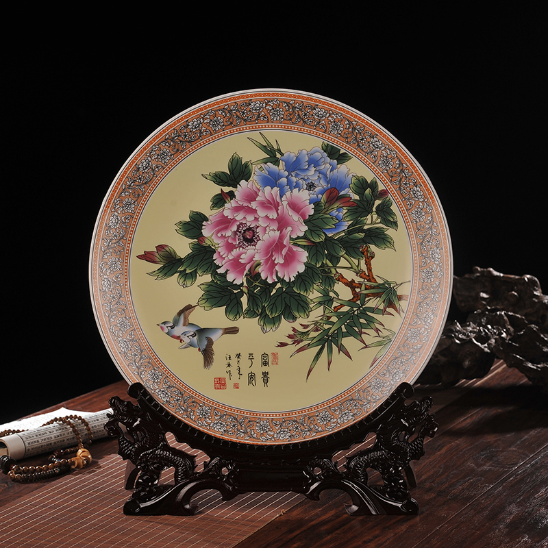 Jingdezhen ceramic decorative plate blossoming home office furnishings ornaments crafts ornaments living room tv cabinet
