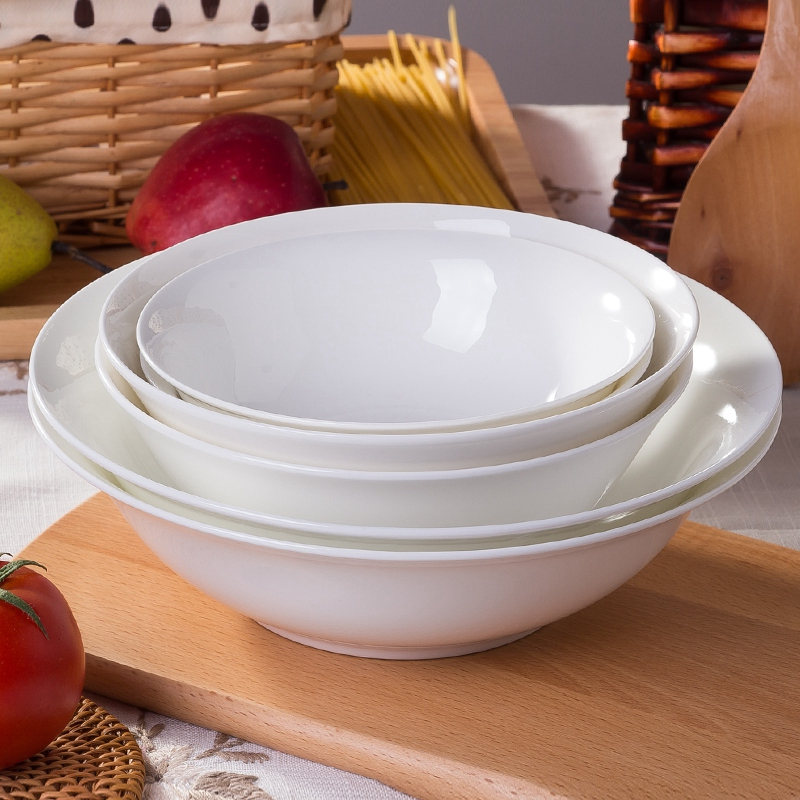 Jingdezhen ceramic tableware pure white household bone china bowl large bowl large bowl of chinese ceramic bowl of instant noodles to eat 9 inch 6 inch 7 inch