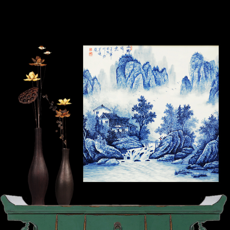 Jingdezhen ceramics famous masterpieces painted blue and white landscape mountains and rivers vitrolite wall painting the living room at home crafts