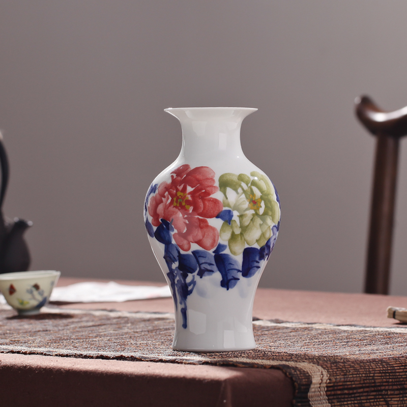 Jingdezhen ceramics painted small vase flowers into a vase home fashion creative ornaments set decoration free shipping