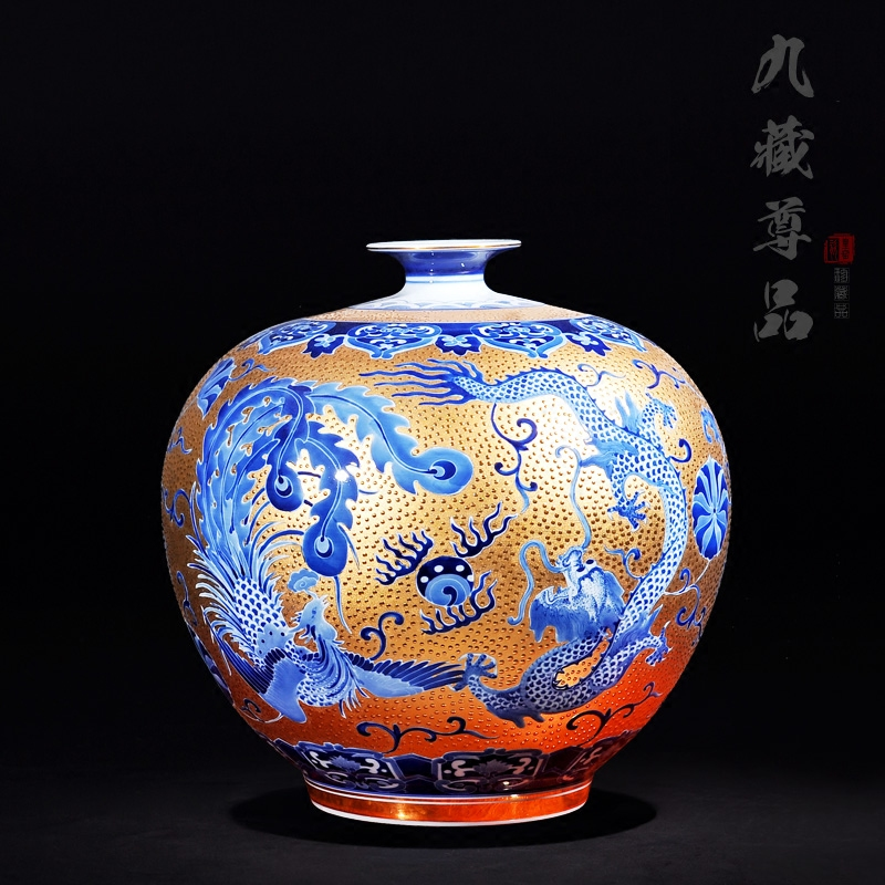 Jingdezhen ceramics upscale antique painted inlay jinlong feng craft jewelry ornaments new home flowers bottle bottle of pomegranate
