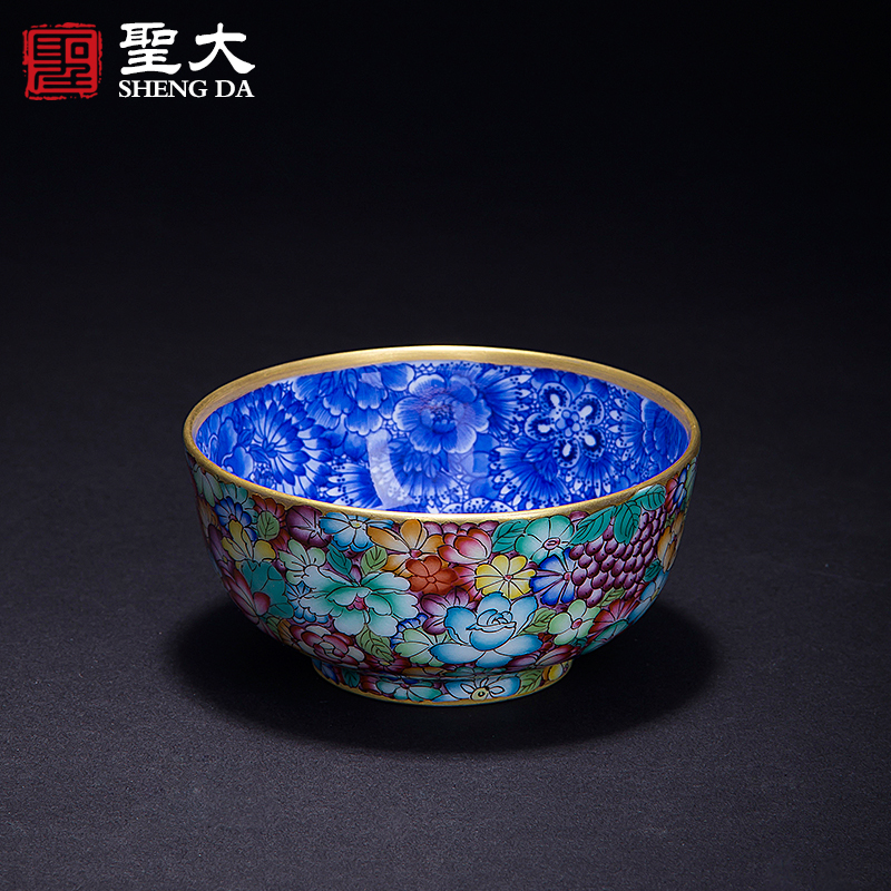 Jingdezhen hand painted ceramic tea cup pure handmade blue and white pastel blossoms gilt golden gong fu masters cup cup boutique