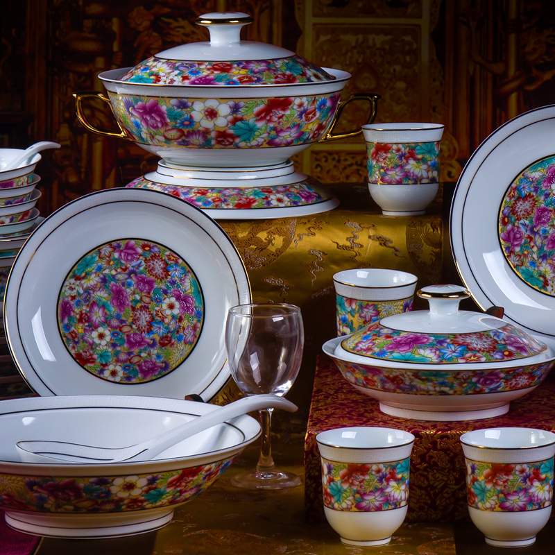 Jingdezhen porcelain high temperature old porcelain dinnerware dish dishes suit classical gift mrs. enamel porcelain : luxury porcelain dinnerware - Pezcame.Com