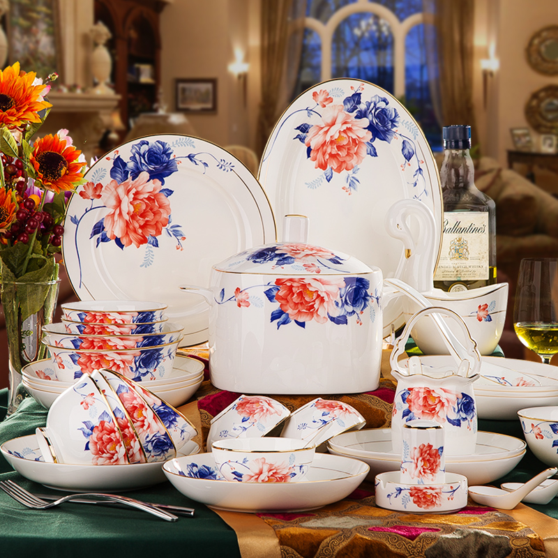Jingdezhen porcelain tableware suit 28/56 korean dishes dish bone china tableware suit bowl household gifts