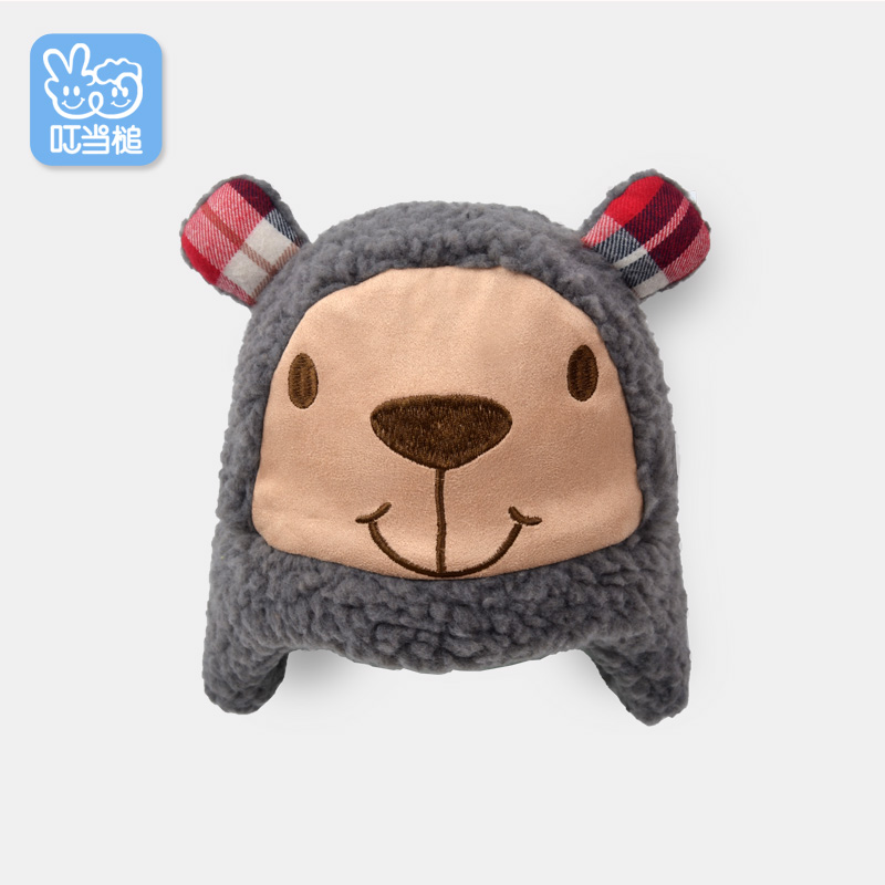 Jingle hammer 0-1-year-old male and female baby fall and winter baby hat baby hat double ear cute little bear hat newborn baby hat
