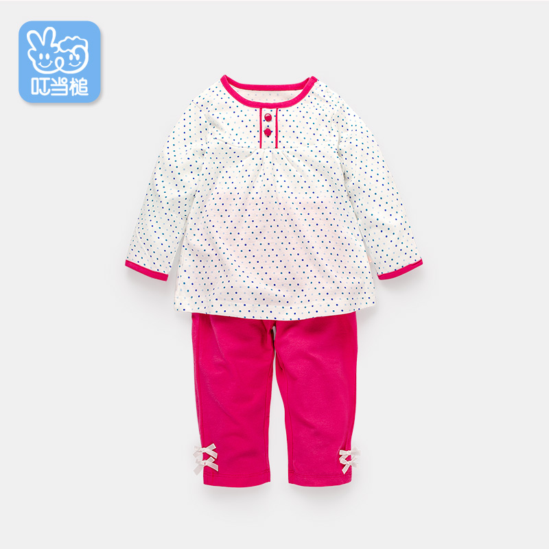 Jingle hammer spring and autumn female baby long sleeve polka dot female baby suit out clothes newborn baby clothes