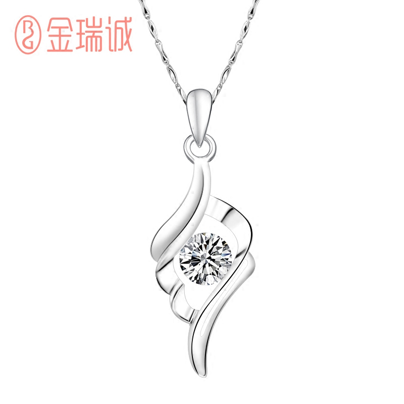 Jinrui cheng 99 sterling silver angel wing pendant necklace fine female clavicle short spring and summer fashion accessories silver