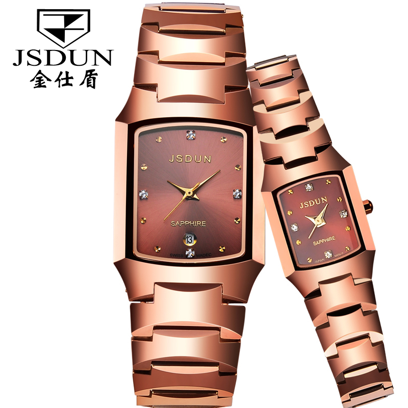 Jinsdon authentic fashion ladies watches korean fashion trend quartz watch waterproof watch tungsten steel couple models on the table