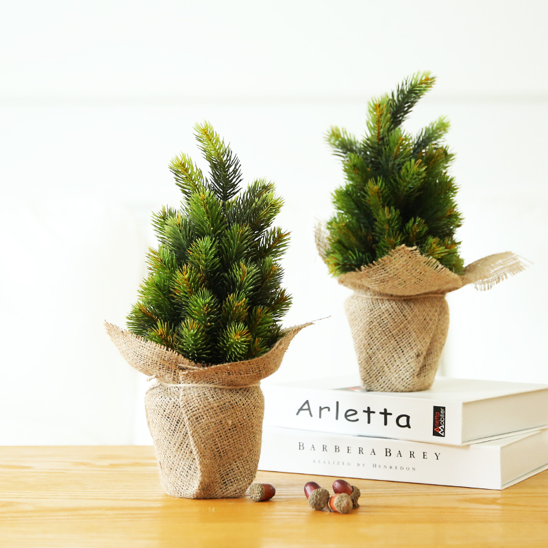 Jiu ba qi er small potted plants simulation christmas pine linen tops christmas tree christmas tree christmas gift