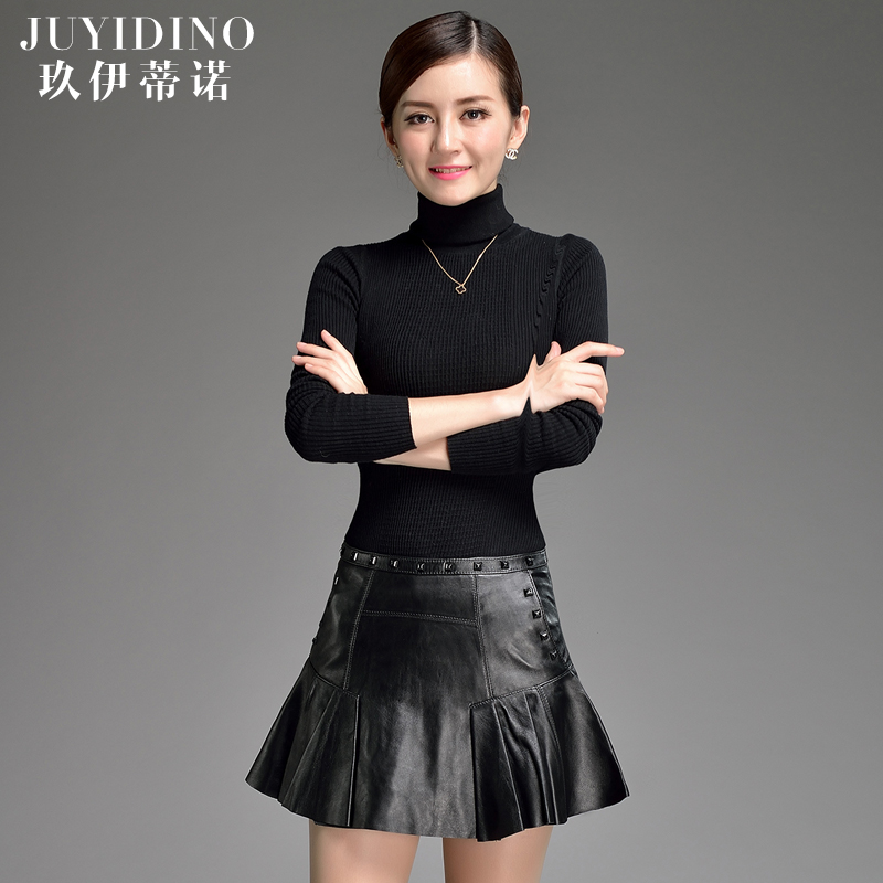 Jiu yi dinozzi autumn and winter leather haining leather sheep skin leather short skirts and sexy package hip slim was thin culottes