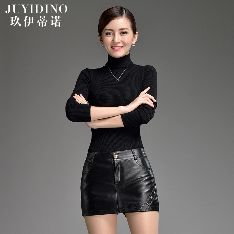 Jiu yi dinuo new ms. sheep skin leather shorts leather pants sexy leather pants leather pants slim was thin straight jeans