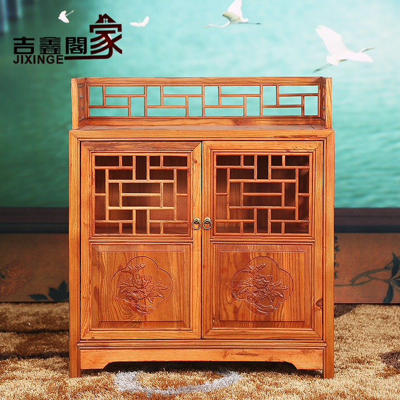 Jixin court elm solid wood antique ming and qing furniture chinese cabinet storage lockers sideboard
