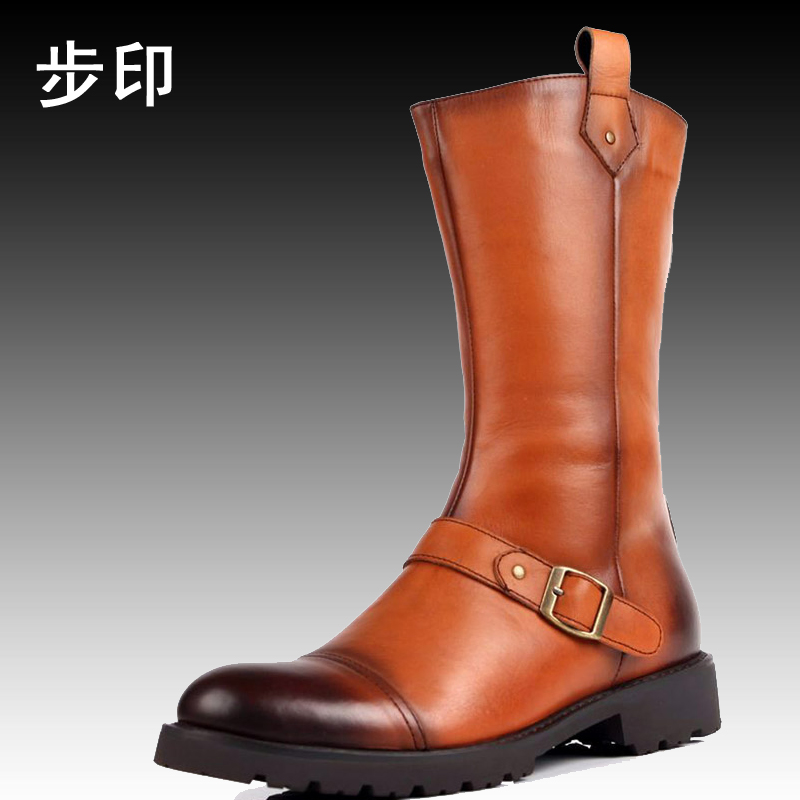 Jmh winter 2014 men's high to help warm cotton boots outdoor boots leather boots tall canister male boots male boots korean tide