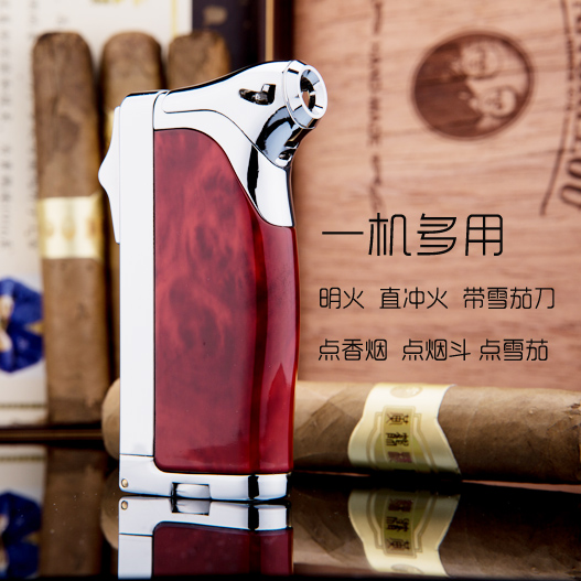 Jobon bang inflatable double fire lighters cigar lighter windproof lighter with cigar cutter points pipe lighters