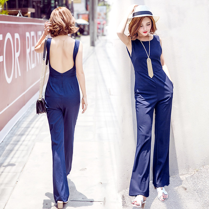 Jocr/joan kabob 2016 korean version of spring and summer suspenders halter piece pants wide leg pants waist was thin straight jeans pants