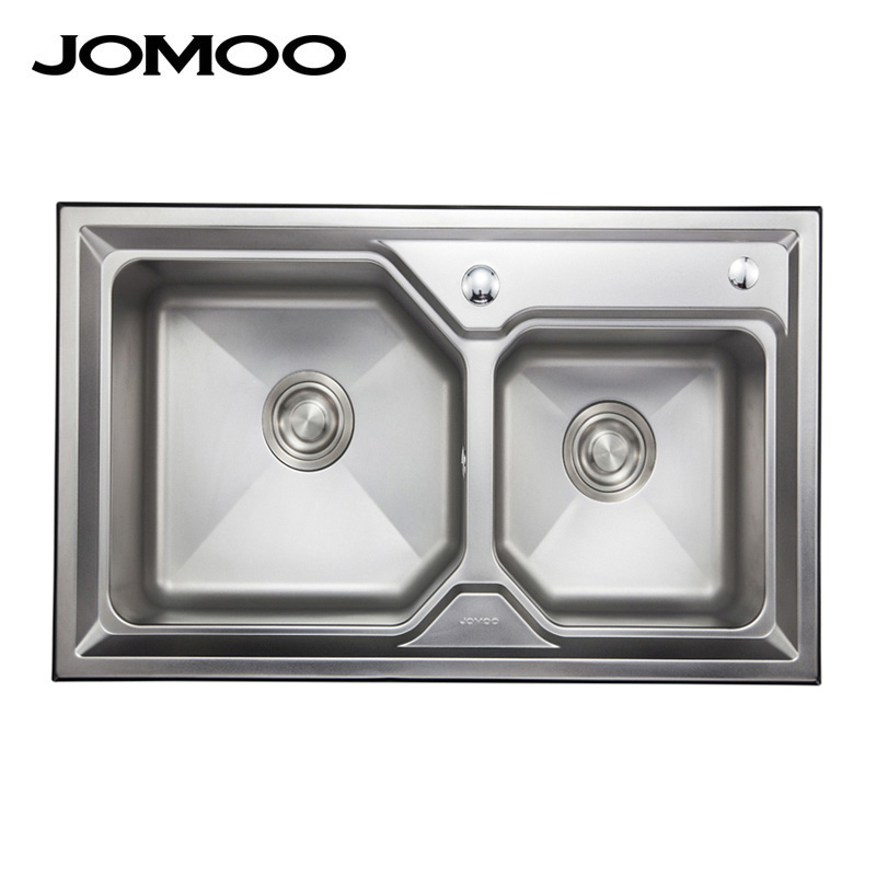 Jomoo jiumu bathroom 304 stainless steel dual slot vegetables basin kitchen sink package 06072