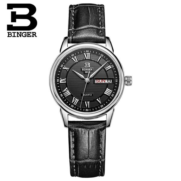 Jordan chan endorsement genuine binger accusative steel watches ladies quartz watch wrist watch waterproof belt female form parallel lines