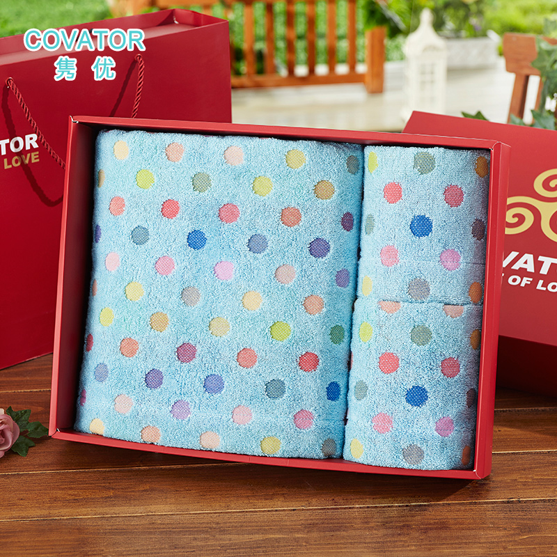 Juan gifted polka dot cotton three sets gift favor cotton towel towel towel can be customized embroidered words