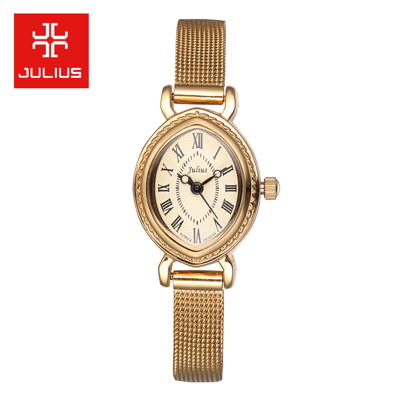 Julius poly lee korean female form waterproof steel watches ladies watches fashion business ol korean version of the compact