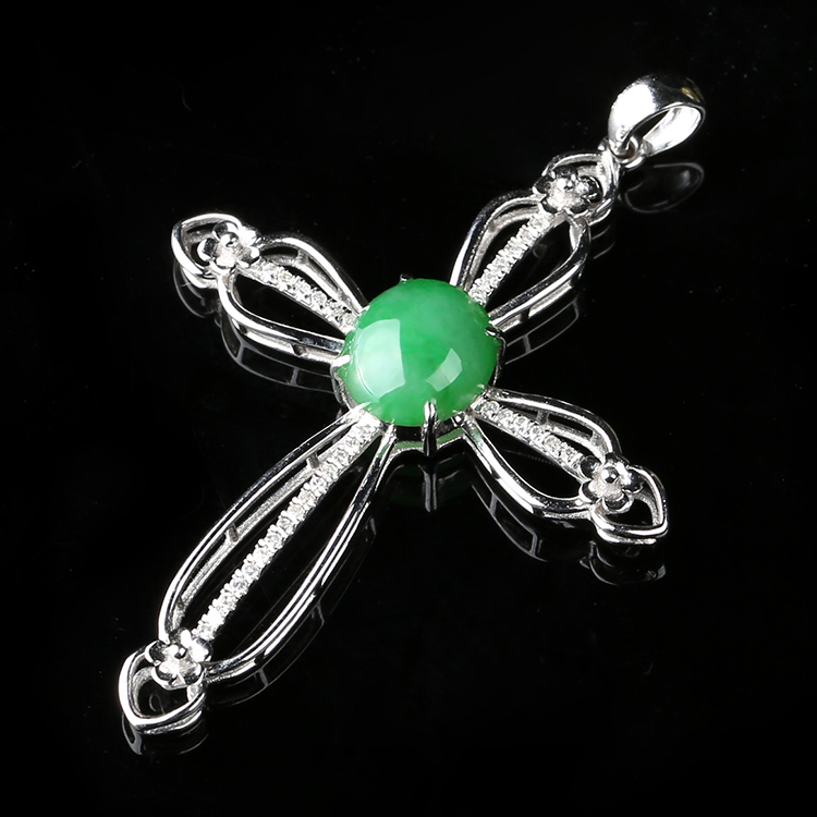d03887b969e41 Get Quotations · K gold inlay diamond natural jade pendant a cargo of ice  waxy kinds of jade green