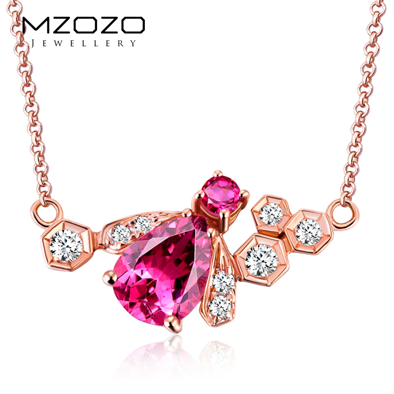 K rose gold jewelry natural red tourmaline pendant mzozo multicolored colored gemstone necklace female models customized
