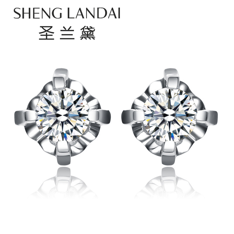 圣兰黛k white gold diamond stud earrings female models diamond earrings diamond stud earrings female models fashion earrings genuine