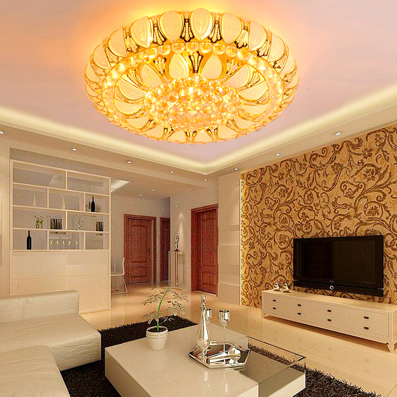 K9 crystal light golden cornucopia round led ceiling lamps restaurant lights living room bedroom small leaves