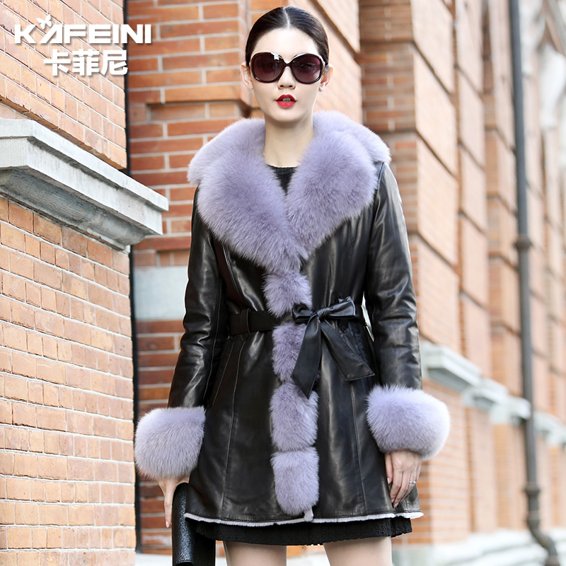 Ka feini 2015 new winter ms. slim leather leather fox fur collar fur fur coat