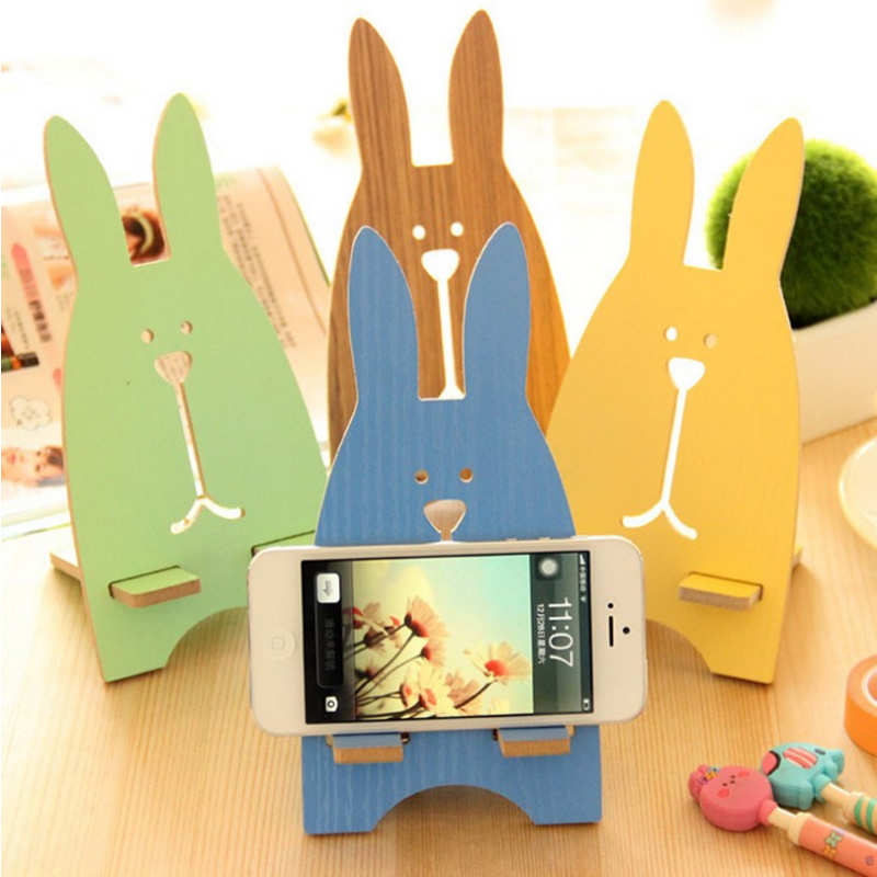 Ka luoqi korean fashion creative mobile phone holder cute wooden rabbit phone holder bracket apple dock
