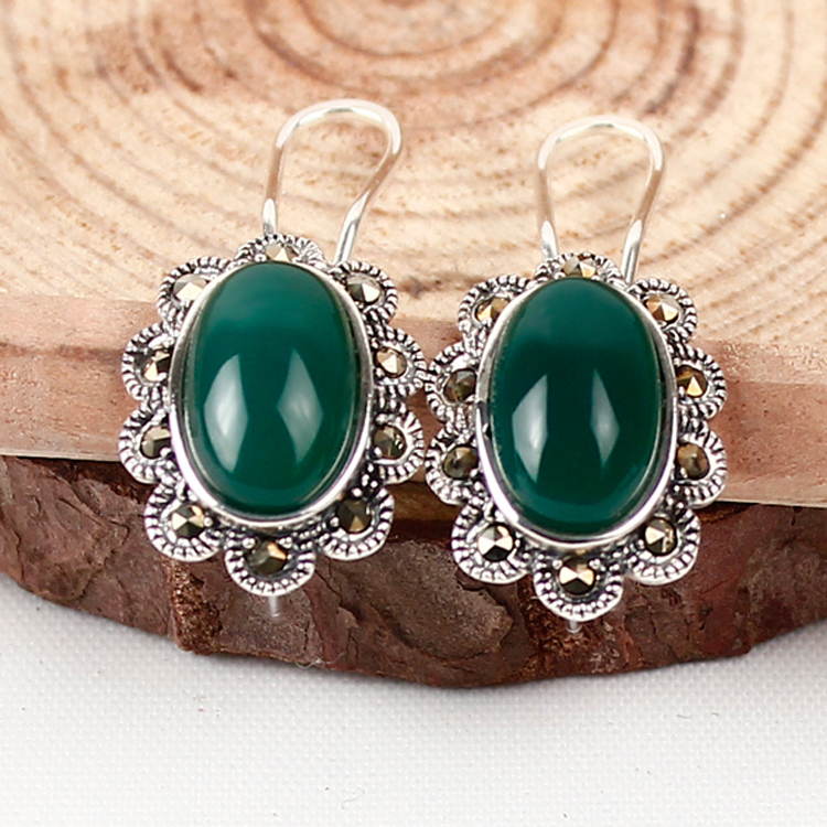 Ka shun thai silver inlay clamp black and green chalcedony agate 925 silver gemstone earrings ear clip earrings retro fashion female models