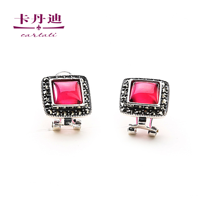 Kadan di 925 sterling silver earrings thai silver red gem earrings earrings korean jewelry silver female spot