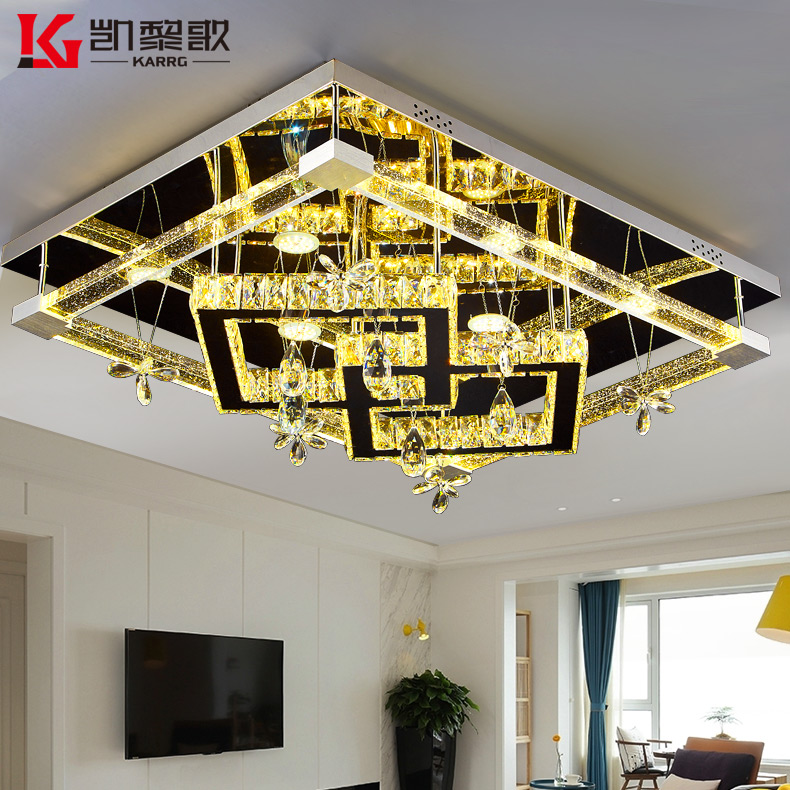 Kai lai song bubble crystal lamp led rectangular living room ceiling lamp modern minimalist lighting remote control dimmer
