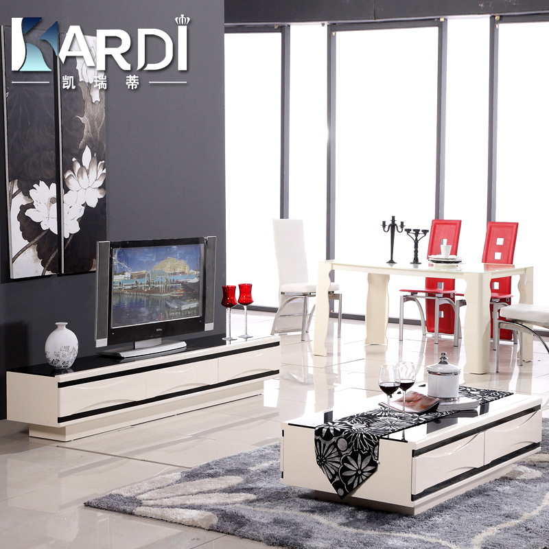 Kai ruidi simple and modern glass coffee table living room coffee table tv cabinet combination paint minimalist modern 610