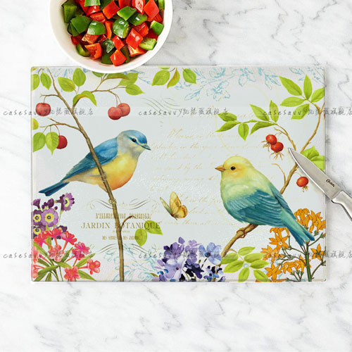 Kaiser jorvi bird pattern unleaded tempered glass cutting board kitchen cutting board chopping board antibacterial mildew proof and easy to clean