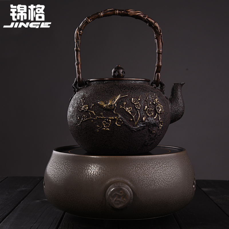 Kam grid kung fu tea cast iron pot in southern japan pig iron teapot tea kettle old iron kettle electric ceramic stove suit